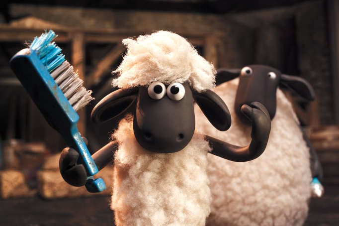 Shaun the Sheep with a toothbrush.