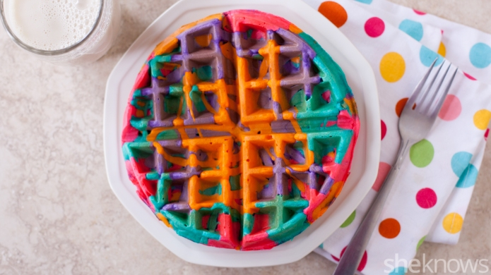These simple DIY colorful tie-dye waffles