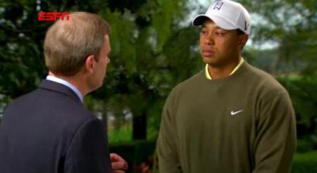 Tiger Woods talks to ESPN