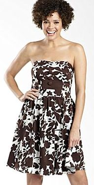 Tie Back Tube Sundress w/Button Detail - Brown/White
