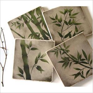 Bamboo tile coasters