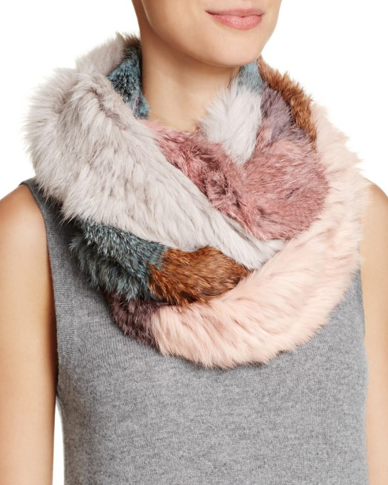 Ways to Wear an Infinity Scarf | Jocelyn patchwork long hair rabbit knitted infinity scarf