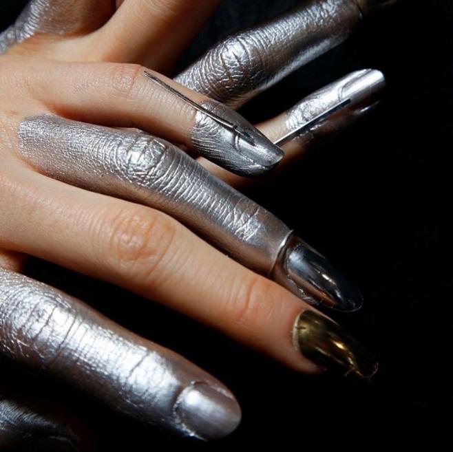 metallic nails at Vivienne Westwood