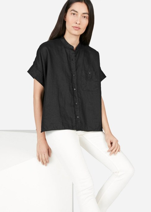 The Best Stores to Shop for Fashion Basics: Everlane Linen Collarless Square Shirt | Summer style 2017