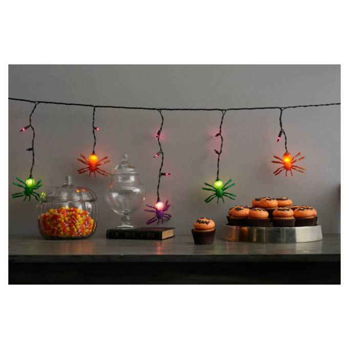 The 15 Best Target Halloween Decorations Under $20 | Spider Lights will brighten up your home.