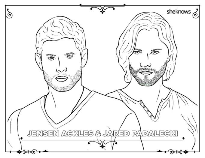 Jensen Ackles & Jared Padalecki coloring book page