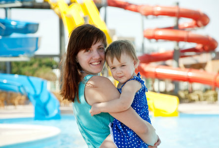 Toddler and mom at the waterpark