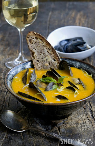 Yellow tomato lemongrass soup with mussels