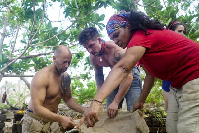 Tony Vlachos, Caleb Reynolds and Sandra Diaz-Twine on Survivor: Game Changers