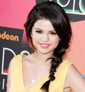 Selena Gomez's side swept braid