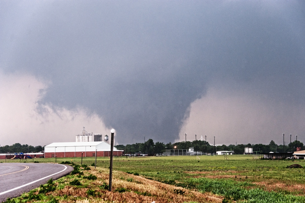 a huge tornado in the distance