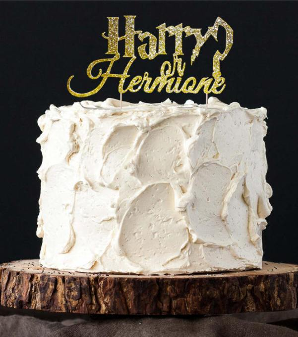 """Gender Reveal Party Ideas You'll Actually Want to Copy: """"Harry or Hermione"""" Cake Topper"""