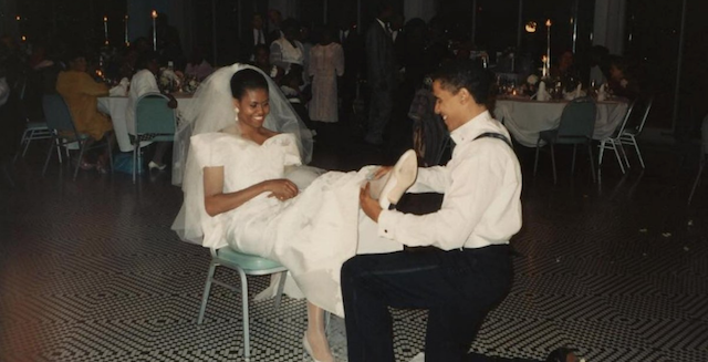 Michelle and Barack Obama on their wedding day