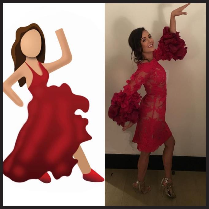 Celebrities Who Looked Like the Dancing Girl Emoji: Nina Dobrev