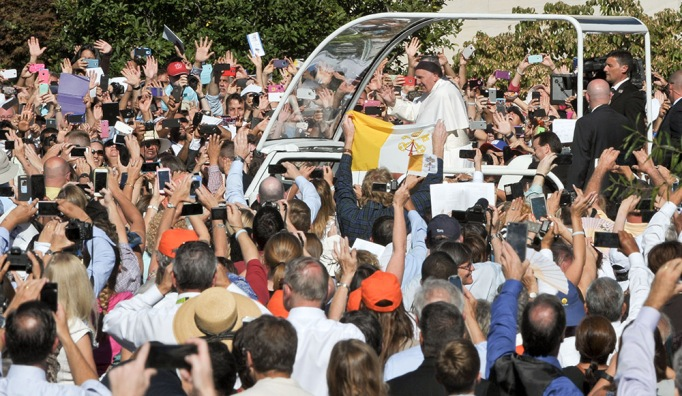 Pope Francis arrives by motorcade