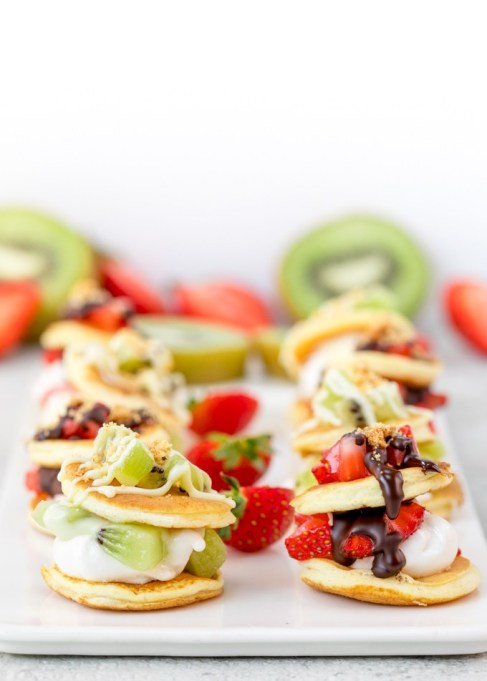 Winter fruit desserts: Marshmallow and fruit blinis are a fun dessert
