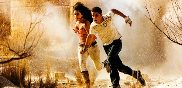 Shia LaBeouf and Megan Fox run for it in Transformers: Revenge of the Fallen