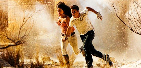 Shia LaBeouf and Megan Fox run for it in Transformers: Revenge of the Fallen