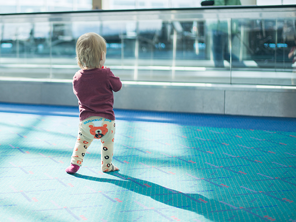 baby at an airport