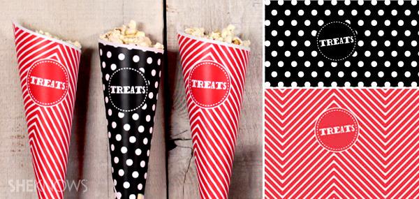 Printable Halloween treat cones