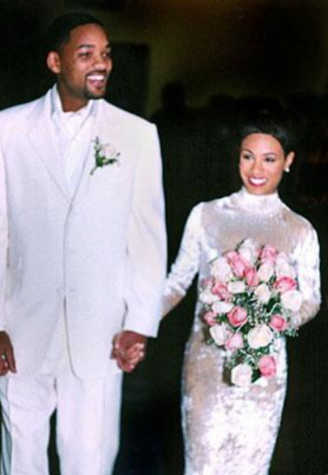 Jada Pinkett Smith in her wedding dress while marrying Will Smith
