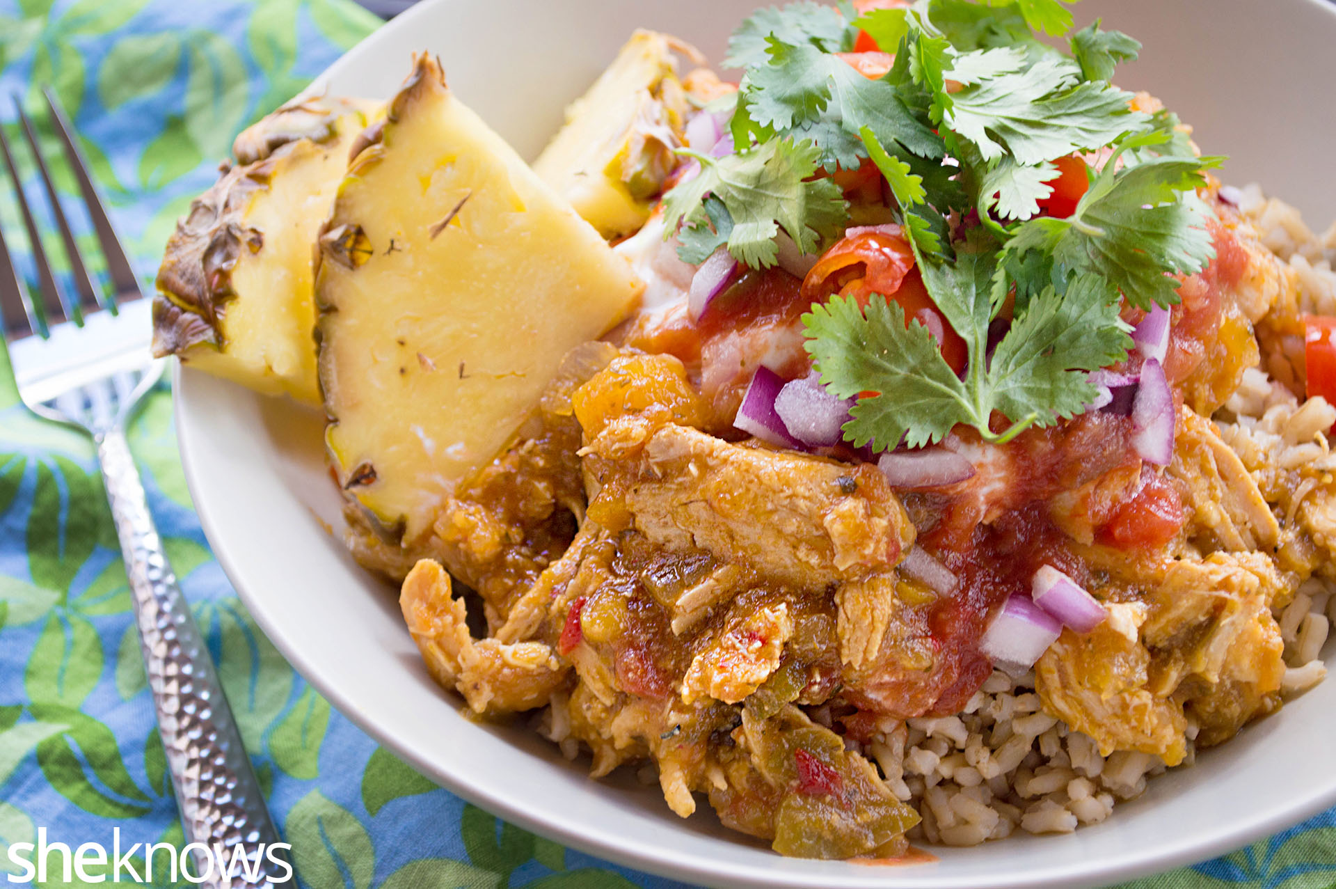 Tropical slow cooker chicken burrito bowls recipe