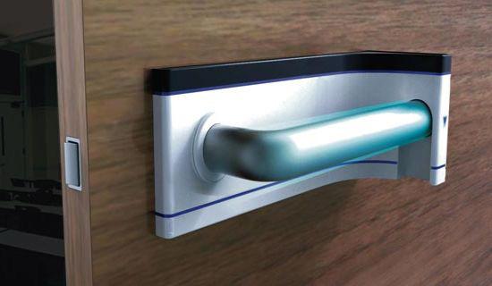 Self sanitizing door handle