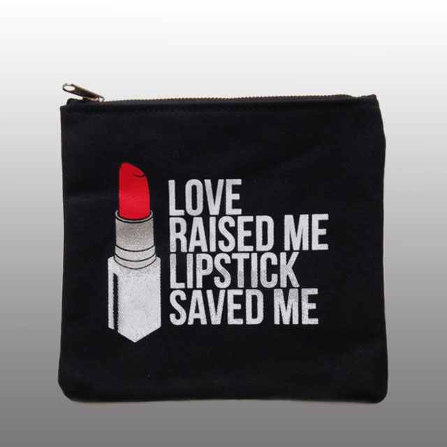 Breakups To Makeup Faux Leather Signature Lipstick Makeup Clutch