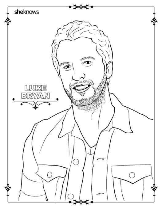 Luke Bryan coloring-book page
