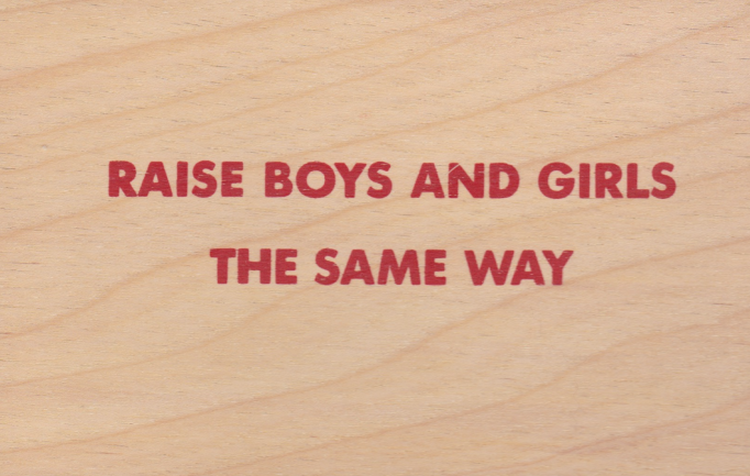 'Raise Boys and Girls the Same Way' Wooden Postcards