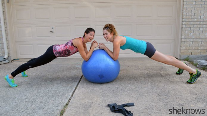 Creative 8-move partner workout with bands
