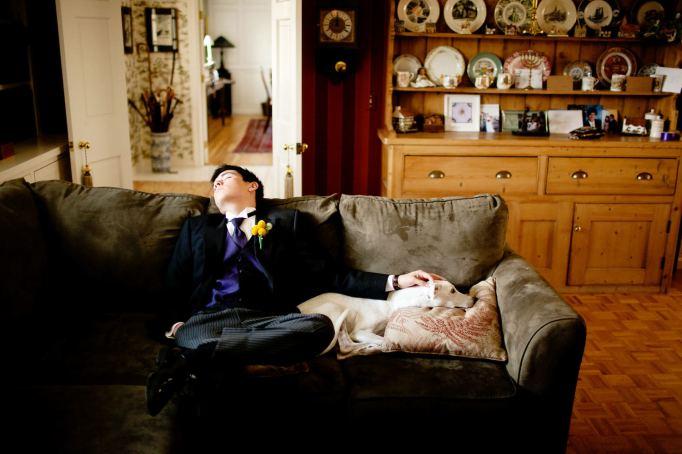 Napping wedding photo