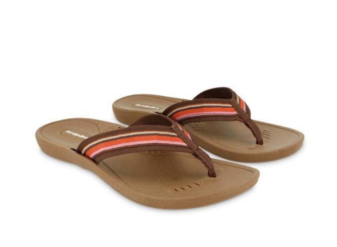 Brown striped flip flop