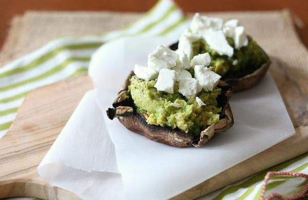 Goat cheese and avocado stuffed portobello