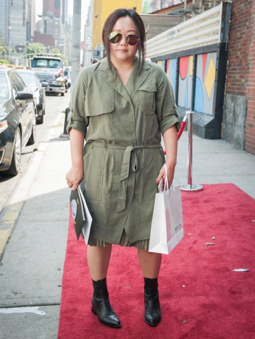 Fashion week street style cargo dress