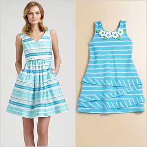 Turquoise striped dresses