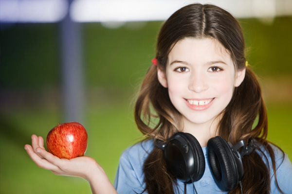 Tween with apple