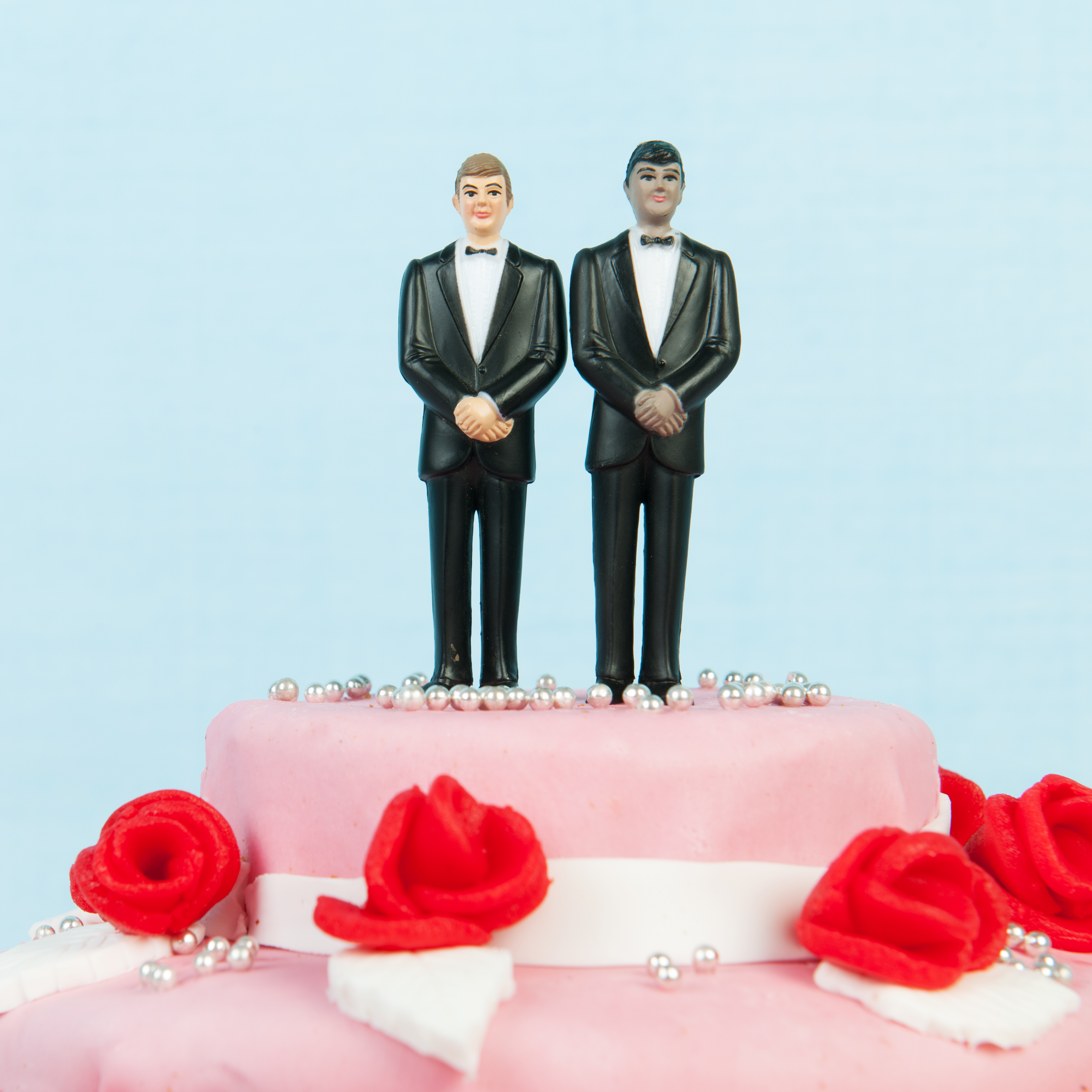 two grooms on top of wedding cake