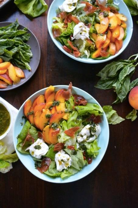 Peach, Burrata & Prosciutto Salad