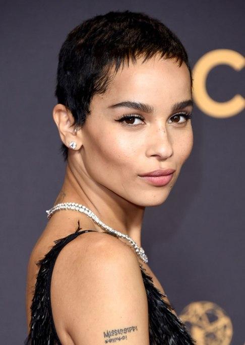 Best Celebrity Hair Transformations of 2017: Zoe Kravitz's jet black pixie cut