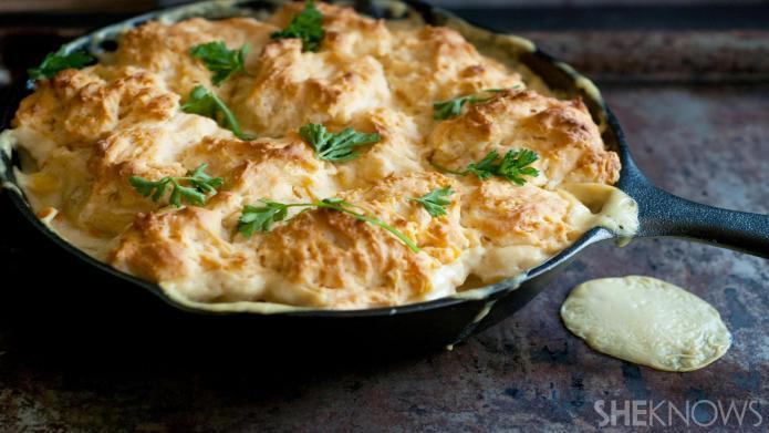 Cheesy one-skillet chicken potpie