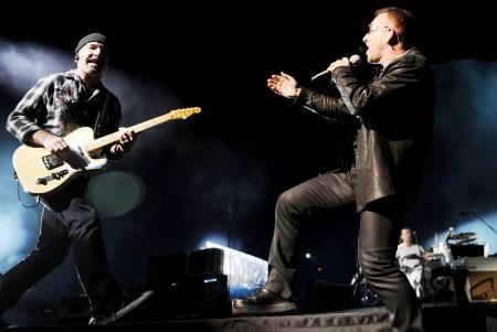 The Edge and Bono rock live