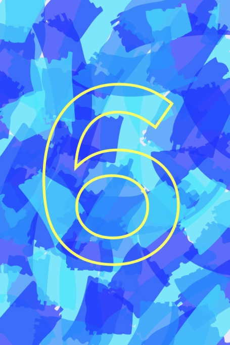 Number 6 on a colorful background