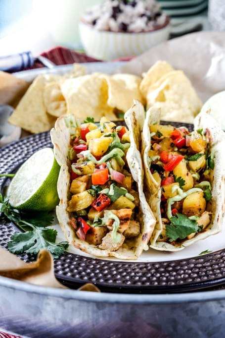Chili-lime chicken tacos with grilled pineapple salsa