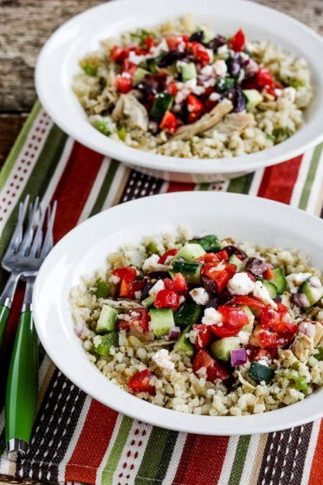 Instant Pot Cauliflower Rice Greek Chicken Bowls