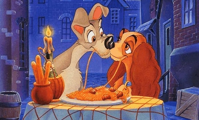 movie kisses Lady and the Tramp