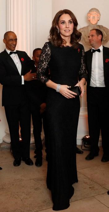 Kate Middleton black lace maternity dress