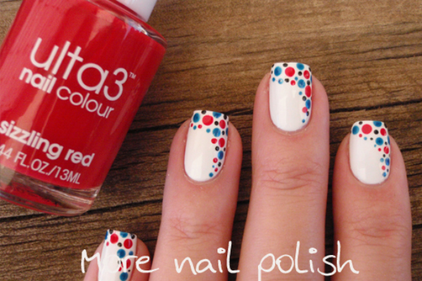 Red, white and blue patriotic polka dot tip nail design
