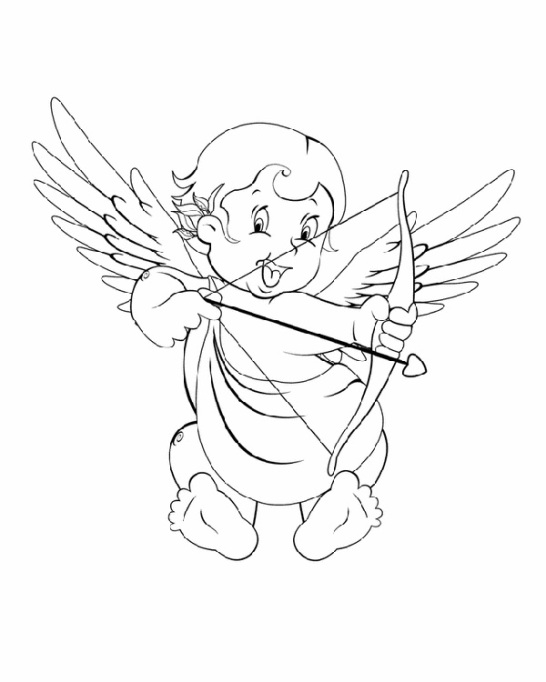Valentine's Day Coloring Pages: Cupid with a bow