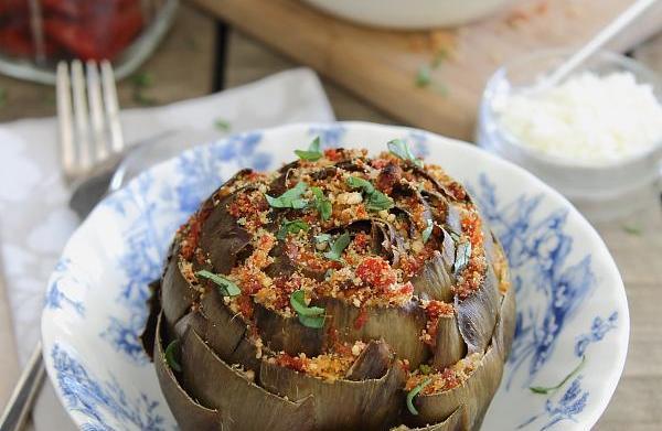 Sun-dried tomato and feta stuffed artichokes